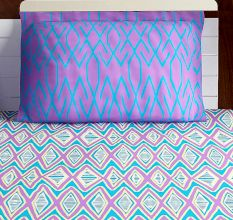 Bombay Dyeing Red Purple And Blue Abstract 120 TC Cotton Double 1 Bedsheet With 2 Pillow Covers