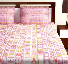 Bombay Dyeing Pink And White Abstract 120 TC Cotton Double 1 Bedsheet With 2 Pillow Covers