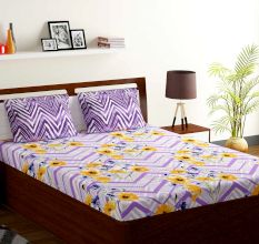 Bombay Dyeing Lavender Orange Floral Abstract 120 TC Cotton Double 1 Bedsheet With 2 Pillow Covers
