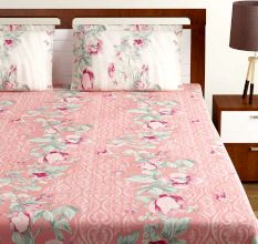 Bombay Dyeing Peach White Floral 180 TC Cotton Double 1 Bedsheet With 2 Pillow Covers