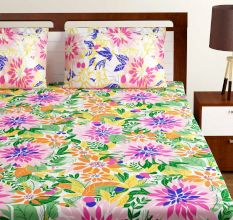 Bombay Dyeing Yellow Multi Colored Floral 180 TC Cotton Double 1 Bedsheet With 2 Pillow Covers