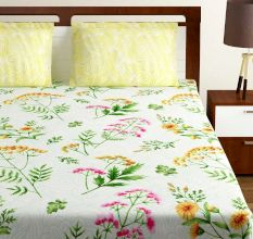 Bombay Dyeing Yellow White Floral 180 TC Cotton Double 1 Bedsheet With 2 Pillow Covers