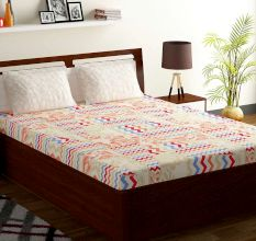 Bombay Dyeing Red White Abstract 180 TC Cotton Double 1 Bedsheet With 2 Pillow Covers