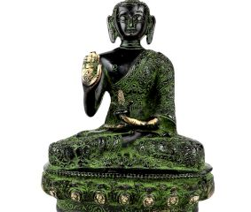 Brass Meditating Blessing Buddha Statue  with Glass Finish