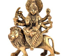 Brass Durga Statue Tranquil Durga Rides Her Fierce Vahana