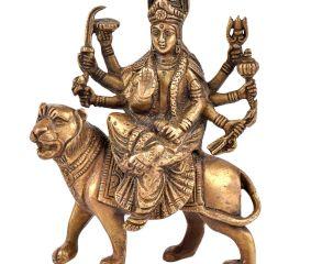 Brass Durga Statue Seated on Her Vehicle Lion Hindu Worship Statue