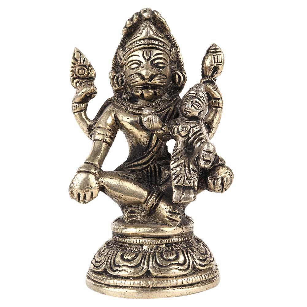 Brass Lord Narsingh and Goddess Lakshmi Statue