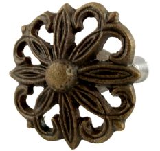 Antique Floral Iron Cabinet Knobs