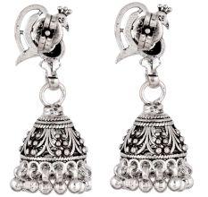 92.5 Sterling Silver Earrings Peacock Oxidized Silver Jhumka Earrings