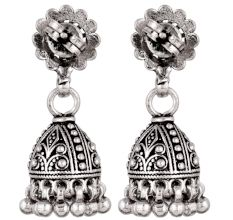 92.5 Sterling Silver Earrings Ethnic Indian Jhumka Dangle Earrings