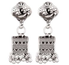 92.5 Sterling Silver Earrings Unusual Shape Floral Stud  Traditional Jhumkies