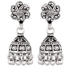 92.5 Sterling Silver Earrings Jhumka Tribal  Jhumkis With Floral Design
