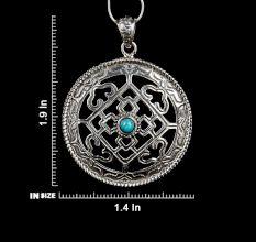 92.5 Sterling Silver Mandala Pendant Lapis Lazuli Geometric Design Pendant Necklace
