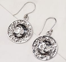 92.5 Sterling Silver Round Filigree Aum Om Centre Drop Earrings