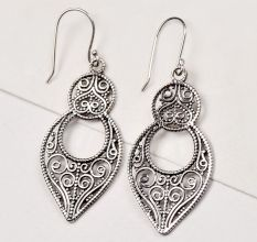 92.5 Sterling Silver Earrings  Drops Dangler Filigree Earrings