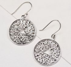 92.5 Sterling Silver Earrings Scroll Work Perfect Round Dangle Earrings