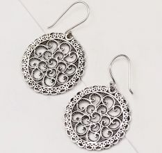 92.5 Sterling Silver Earrings Dot and Scroll Dangle Earrings