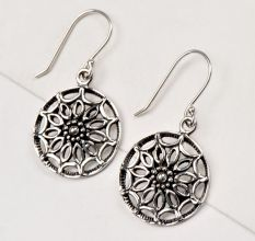 92.5 Sterling Silver Earrings Round Scroll Hanging Danglers