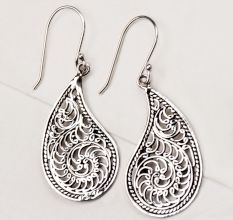 92.5 Sterling Silver Earrings Scrolled Design Paisley Frame Dangler Earrings
