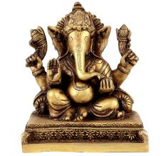 Handmade Brass Ganesha Statue With Pillows Blessing God Figurine