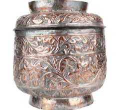 Handmade Broad Copper Canister Repousse Storage Box With Lid