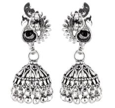 92.5 Sterling Silver Earrings Peacock Paisley Jhumkis