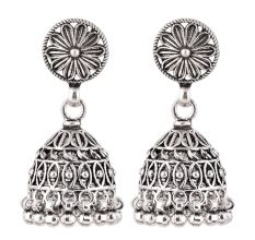 92.5 Sterling Silver Earrings Floral Stud Dangle Jhumkis