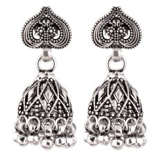 92.5 Sterling Silver Earrings Intricate Leaf Tribal Bell Dangle jhumkis