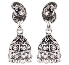 92.5 Sterling Silver Earrings Tribal Engraved Paisley Jhumkis