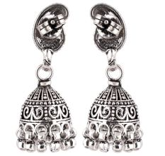 92.5 Sterling Silver Earrings Paisley Intricate Design Jhumkis Every Day Wear