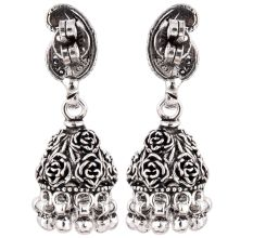 92.2 Sterling Silver Earrings Rose And Paisley Engraved Jhumkis