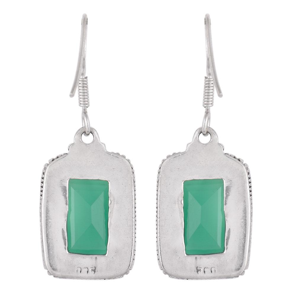 92.5 Sterling Silver Green Agate Earrings Rectangular Border Girlfriend Gift