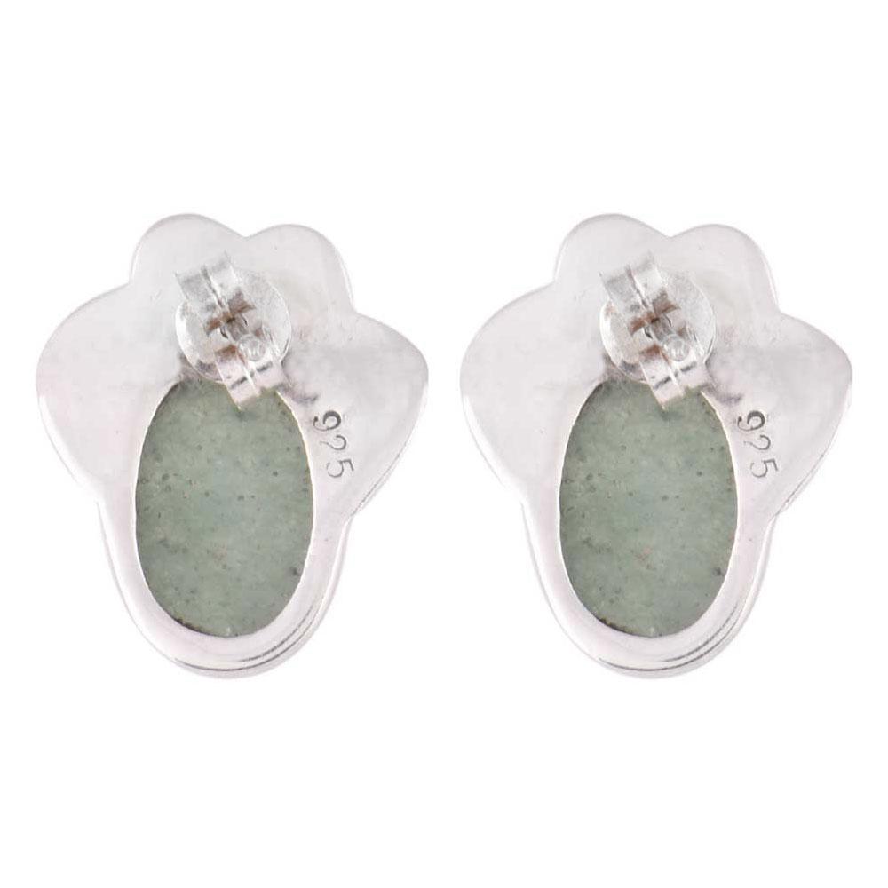 92.5 Sterling Silver Earings Eventurine Designer Single Drop Earrings