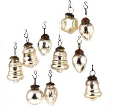 Set of 25 Handmade Silver Glass Christmas Ornaments In Assorted Styles