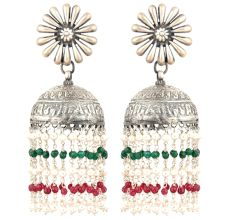 92.5 Sterling Silver Earrings Big Floral Stud Small silver red and Green Onyx Chandelier Tassel Jhumkis