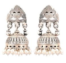 92.5 Sterling Silver Earrings Abstract Stud Design Jhumki  With Hanging Silver Beads