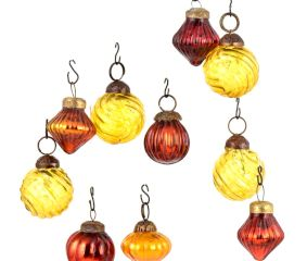 Set of 25 Handmade Rust And Yellow Glass Christmas Ornaments In Assorted Styles