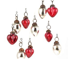 Set of 25 Handmade Red And Silver Mini Christmas Ornaments In Assorted Styles