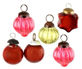Set of 25 Handmade Red Pink And Olive Mini Christmas Ornaments In Assorted Styles