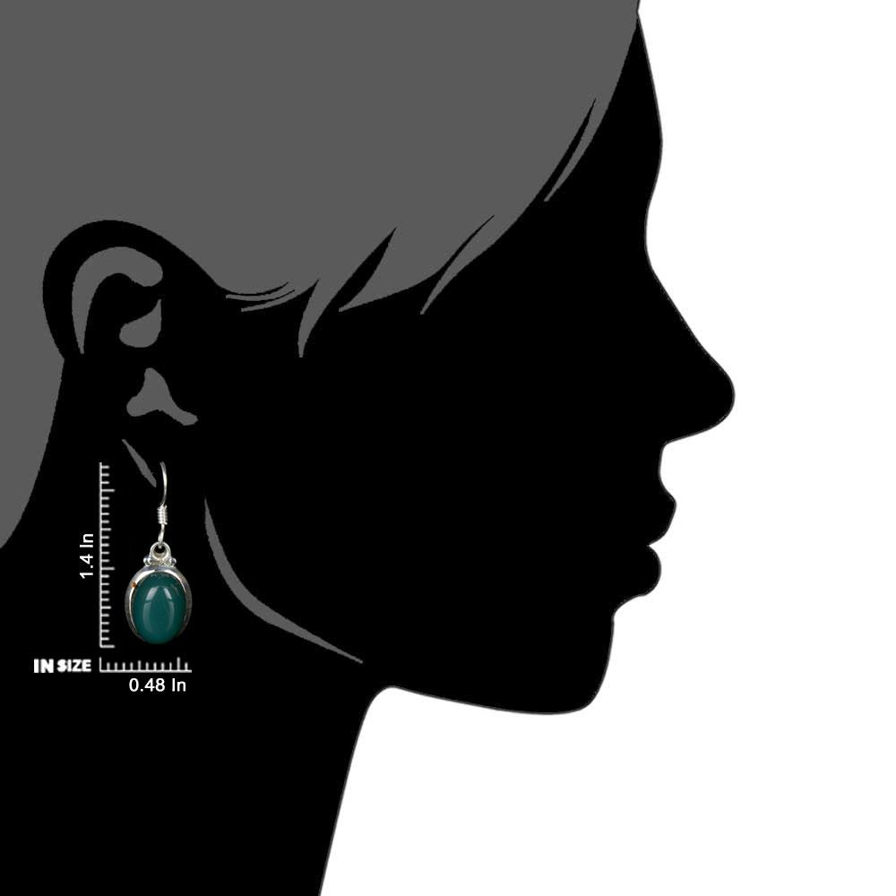 92.5 Sterling silver Earring Green Onyx Hook Everday Earring
