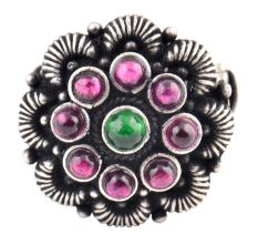 Adjustable Oxidized 92.5 Sterling Silver Ring Petals Round Amethyst And Onyx Stones (Free Size)