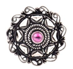 Oxidized 92.5 Sterling Silver Ring Adjustable Round Floral Amethyst Ring (Free Size)