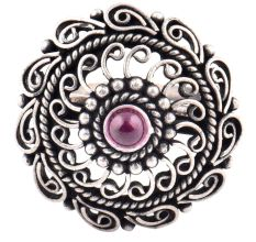 Oxidized 92.5 Sterling silver Ring Adjustable Amethyst Stone Studded Paisley Design (Free Size)