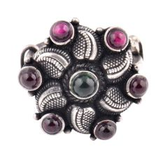 Oxidized 92.5 Sterling Silver Ring Adjustable Flower Decorated With Amethyst and Onyx Stones (Free Size)