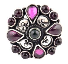 Amethyst Studded 92.5 Sterling Silver Ring With Intricate Design (Free Size)