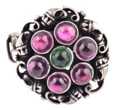 Engraved 92.5 Sterling Silver Ring Amethyst Stone Circle With Onyx Stone In The Centre (Free Size)