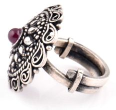 92.5 Sterling Silver Ring  Adjustable With Round Amethyst with Pear and dotted Motifs And Scroll Design (Free Size)
