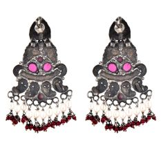 Long Floral 92.5 Sterling Silver Earrings Peacock Motif Pearl And Red Agate Tassels