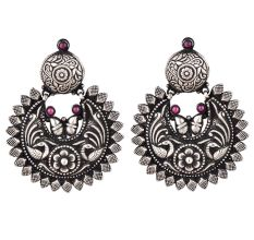 Oxidized 92.5 Sterling silver Earrings Chandbali Peacock Big Floral Formal Wear For Women
