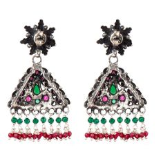 Multicolored Triangular Sterling Silver Earrings Stone Studded jhumki